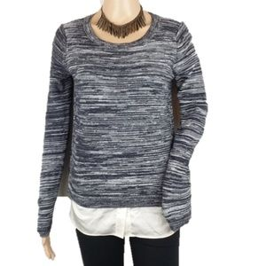 LOFT Marled Gray Classic Crewneck Knit Sweater